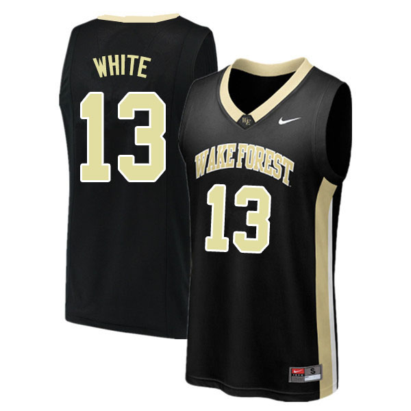 Men #13 Andrien White Wake Forest Demon Deacons College Basketball Jerseys Sale-Black
