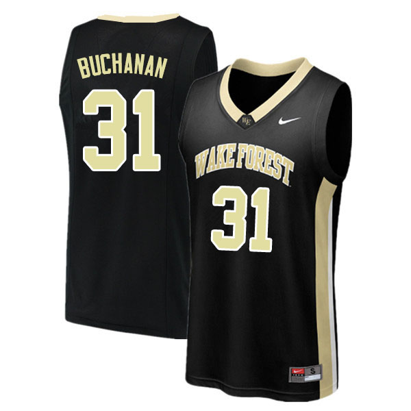 Men #31 Blake Buchanan Wake Forest Demon Deacons College Basketball Jerseys Sale-Black
