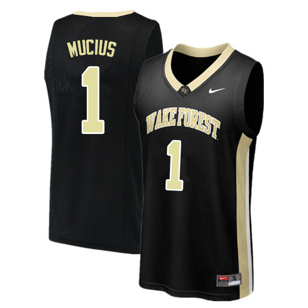 Men #1 Isaiah Mucius Wake Forest Demon Deacons College Basketball Jerseys Sale-Black