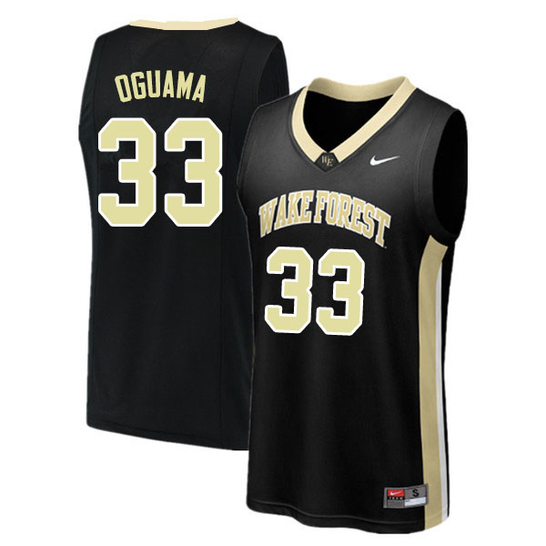 Men #33 Ody Oguama Wake Forest Demon Deacons College Basketball Jerseys Sale-Black