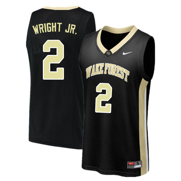 Men #2 Sharone Wright Jr. Wake Forest Demon Deacons College Basketball Jerseys Sale-Black