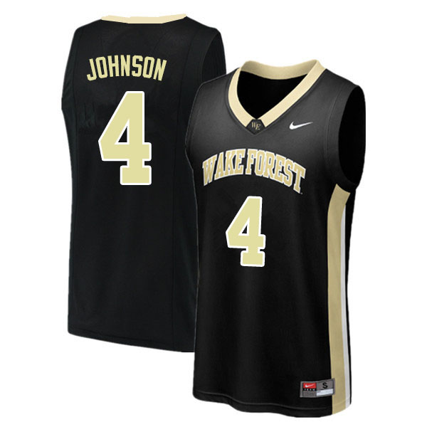 Men #4 Torry Johnson Wake Forest Demon Deacons College Basketball Jerseys Sale-Black
