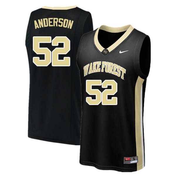 Men #52 Britton Anderson Wake Forest Demon Deacons College Basketball Jerseys Sale-Black