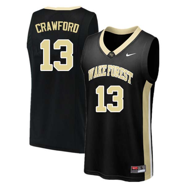 Men #13 Bryant Crawford Wake Forest Demon Deacons College Basketball Jerseys Sale-Black