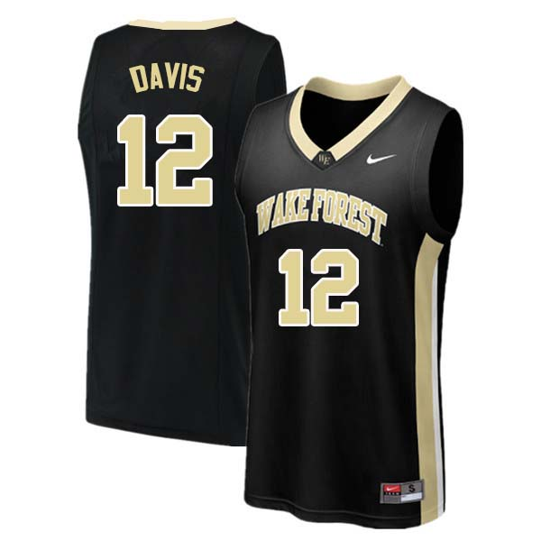 Men #12 Charlie Davis Wake Forest Demon Deacons College Basketball Jerseys Sale-Black