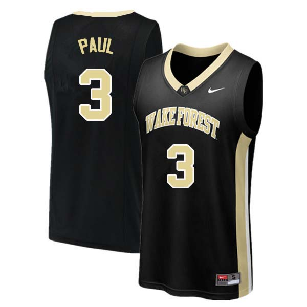 Men #3 Chris Paul Wake Forest Demon Deacons College Basketball Jerseys Sale-Black