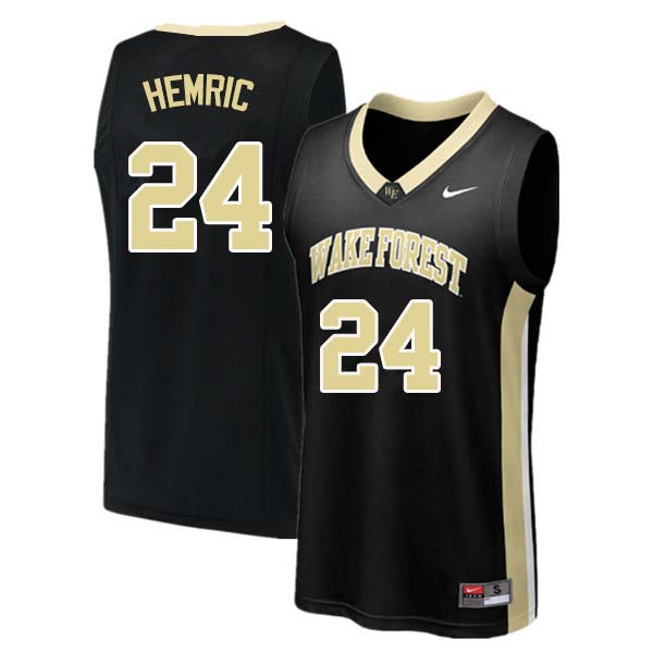 Men #24 Dickie Hemric Wake Forest Demon Deacons College Basketball Jerseys Sale-Black