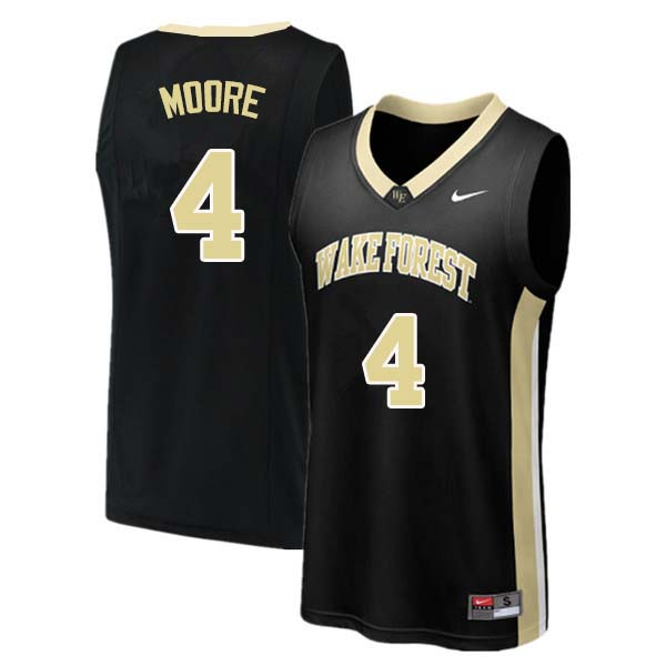Men #4 Doral Moore Wake Forest Demon Deacons College Basketball Jerseys Sale-Black