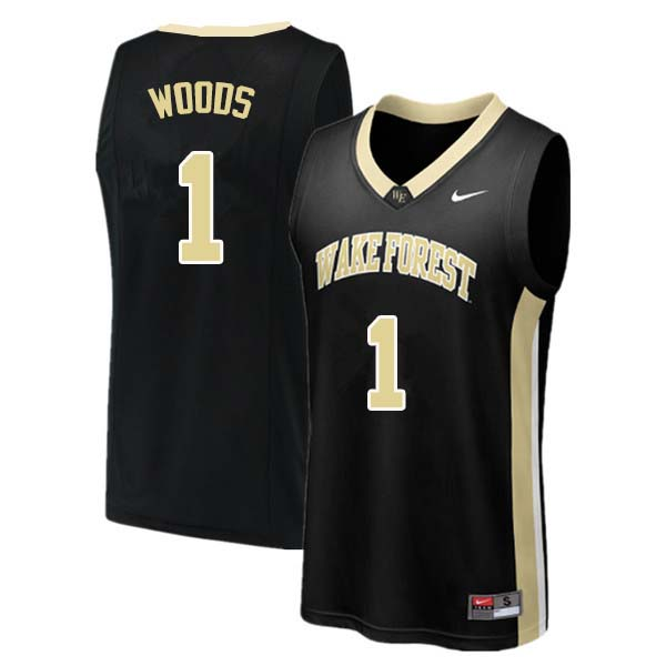 Men #1 Keyshawn Woods Wake Forest Demon Deacons College Basketball Jerseys Sale-Black