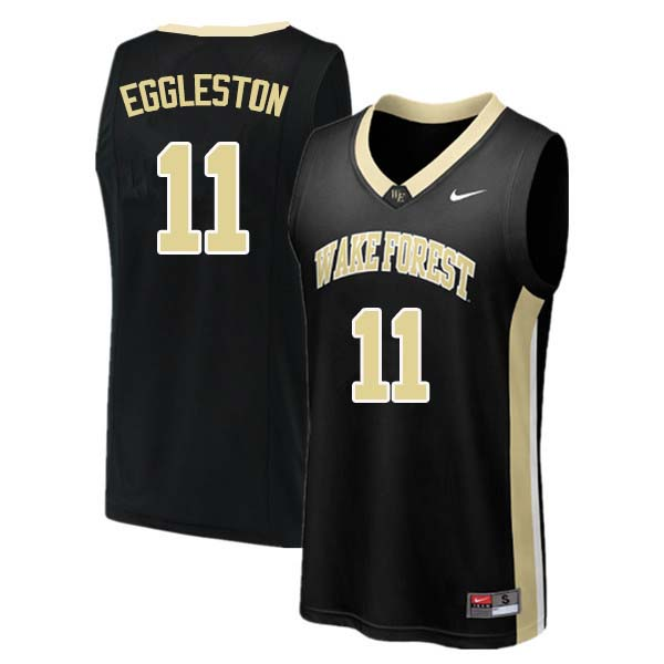 Men #11 Melo Eggleston Wake Forest Demon Deacons College Basketball Jerseys Sale-Black