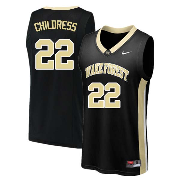 Men #22 Randolph Childress Wake Forest Demon Deacons College Basketball Jerseys Sale-Black