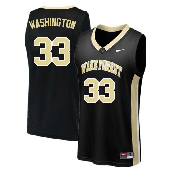 Men #33 Rich Washington Wake Forest Demon Deacons College Basketball Jerseys Sale-Black