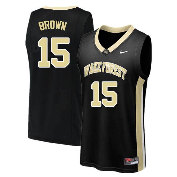 Men #15 Skip Brown Wake Forest Demon Deacons College Basketball Jerseys Sale-Black