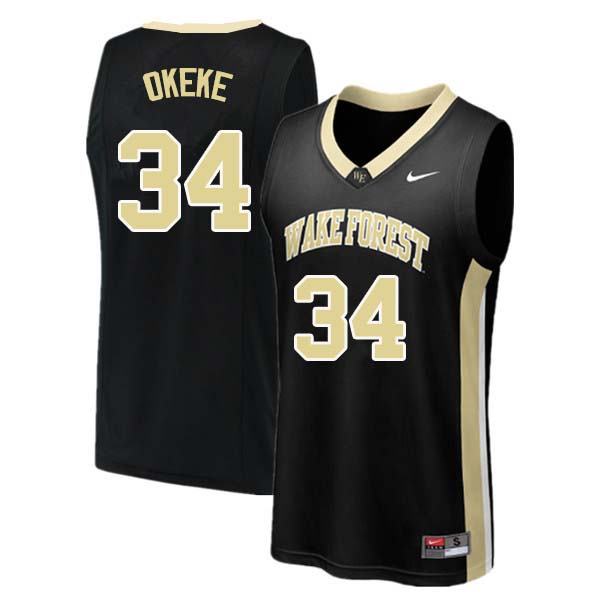 Men #34 Sunday Okeke Wake Forest Demon Deacons College Basketball Jerseys Sale-Black