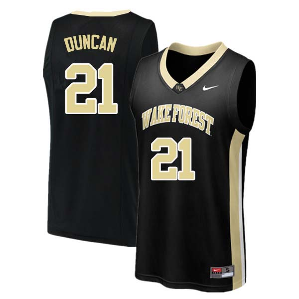 Men #21 Tim Duncan Wake Forest Demon Deacons College Basketball Jerseys Sale-Black