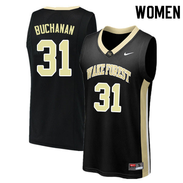 Women #31 Blake Buchanan Wake Forest Demon Deacons College Basketball Jerseys Sale-Black