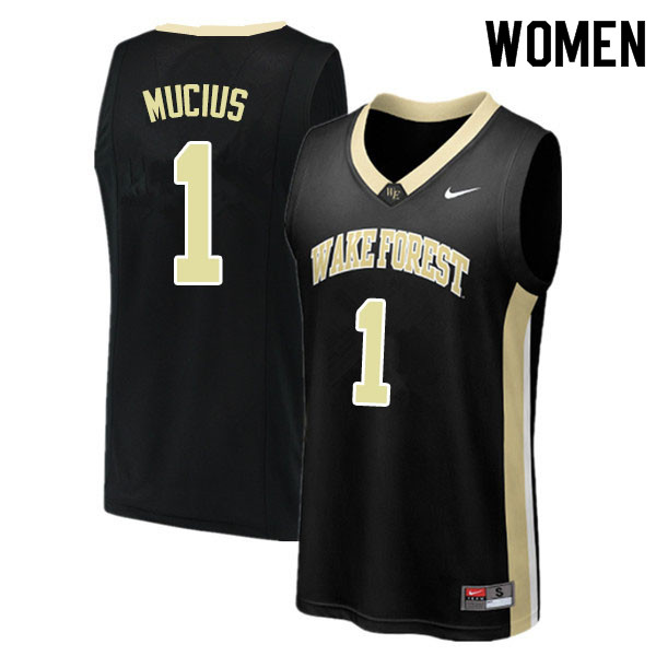 Women #1 Isaiah Mucius Wake Forest Demon Deacons College Basketball Jerseys Sale-Black