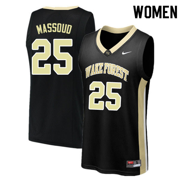 Women #25 Ismael Massoud Wake Forest Demon Deacons College Basketball Jerseys Sale-Black