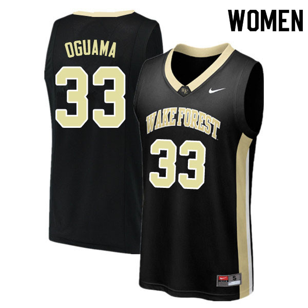 Women #33 Ody Oguama Wake Forest Demon Deacons College Basketball Jerseys Sale-Black