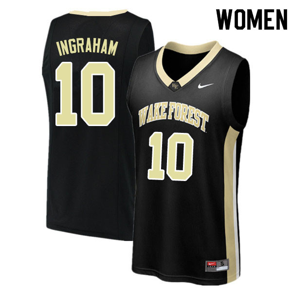 Women #10 Tariq Ingraham Wake Forest Demon Deacons College Basketball Jerseys Sale-Black