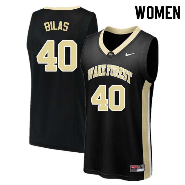 Women #40 Anthony Bilas Wake Forest Demon Deacons College Basketball Jerseys Sale-Black