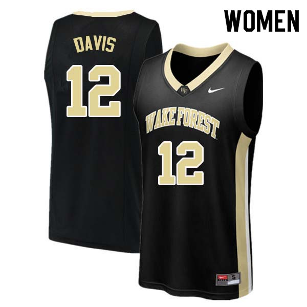 Women #12 Charlie Davis Wake Forest Demon Deacons College Basketball Jerseys Sale-Black