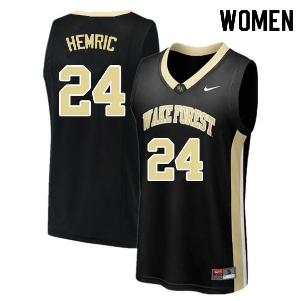 Women #24 Dickie Hemric Wake Forest Demon Deacons College Basketball Jerseys Sale-Black