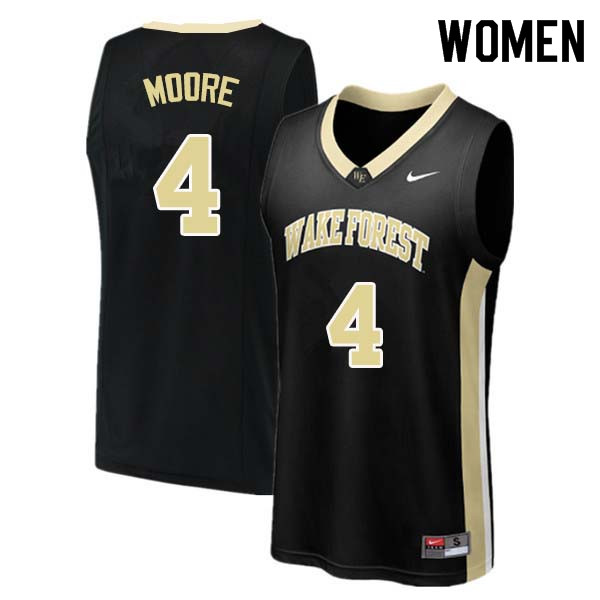Women #4 Doral Moore Wake Forest Demon Deacons College Basketball Jerseys Sale-Black