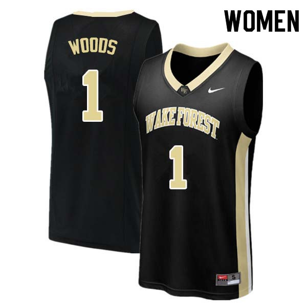 Women #1 Keyshawn Woods Wake Forest Demon Deacons College Basketball Jerseys Sale-Black