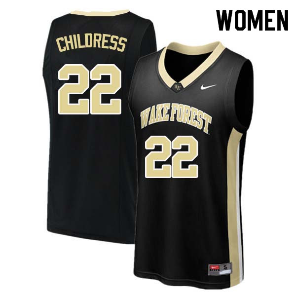 Women #22 Randolph Childress Wake Forest Demon Deacons College Basketball Jerseys Sale-Black