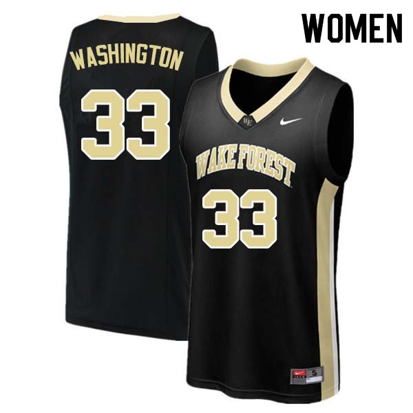 Women #33 Rich Washington Wake Forest Demon Deacons College Basketball Jerseys Sale-Black