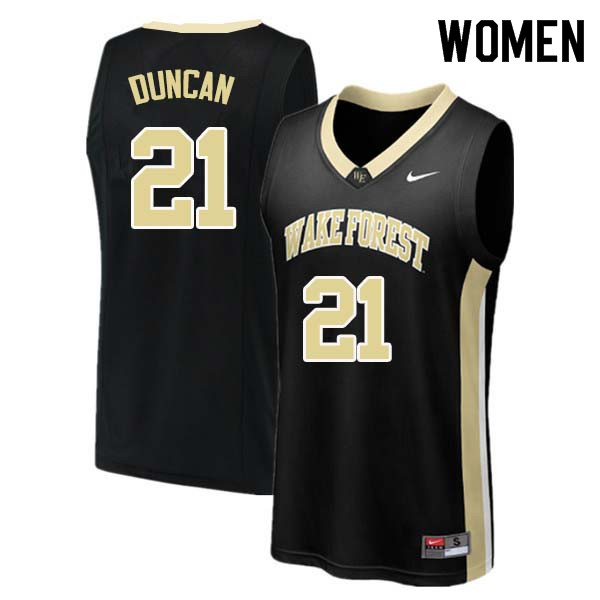 Women #21 Tim Duncan Wake Forest Demon Deacons College Basketball Jerseys Sale-Black