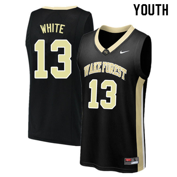 Youth #13 Andrien White Wake Forest Demon Deacons College Basketball Jerseys Sale-Black