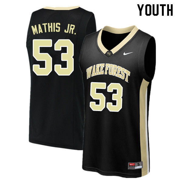 Youth #53 Anthony Mathis Jr. Wake Forest Demon Deacons College Basketball Jerseys Sale-Black