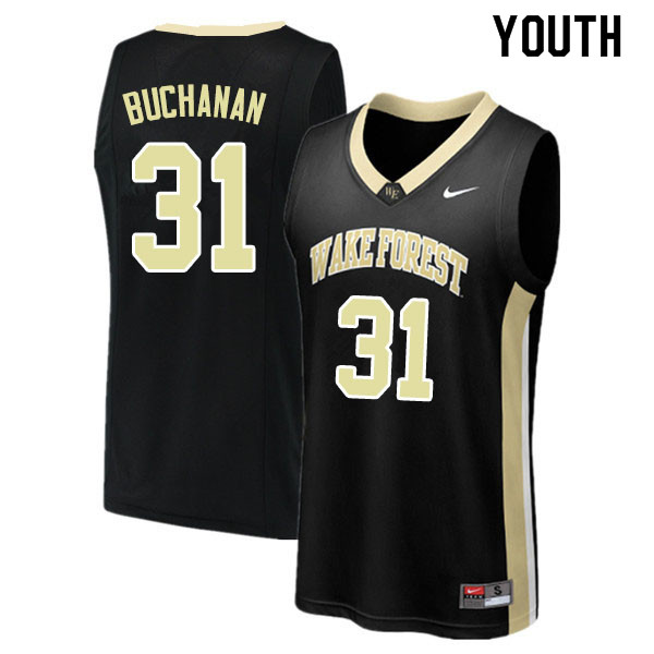 Youth #31 Blake Buchanan Wake Forest Demon Deacons College Basketball Jerseys Sale-Black