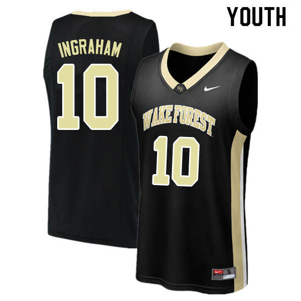 Youth #10 Tariq Ingraham Wake Forest Demon Deacons College Basketball Jerseys Sale-Black