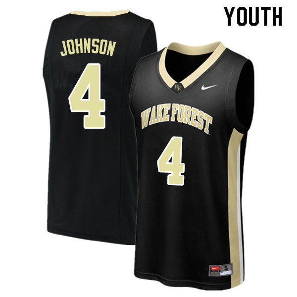 Youth #4 Torry Johnson Wake Forest Demon Deacons College Basketball Jerseys Sale-Black