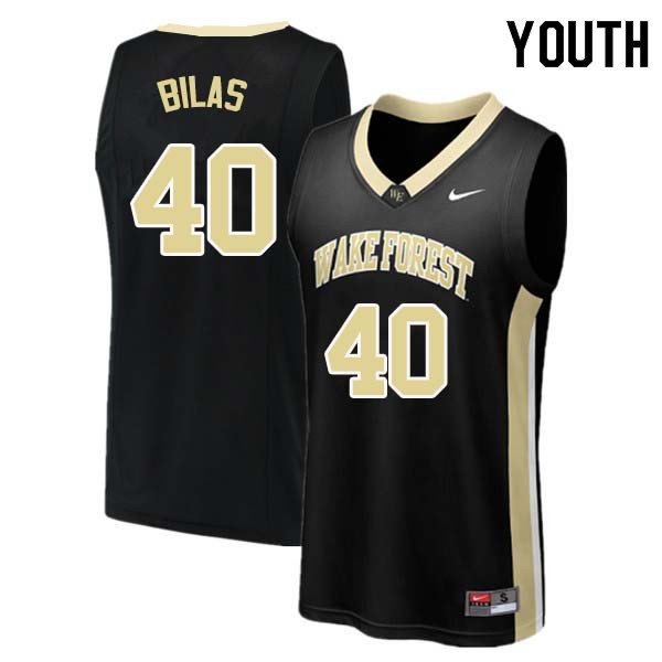 Youth #40 Anthony Bilas Wake Forest Demon Deacons College Basketball Jerseys Sale-Black