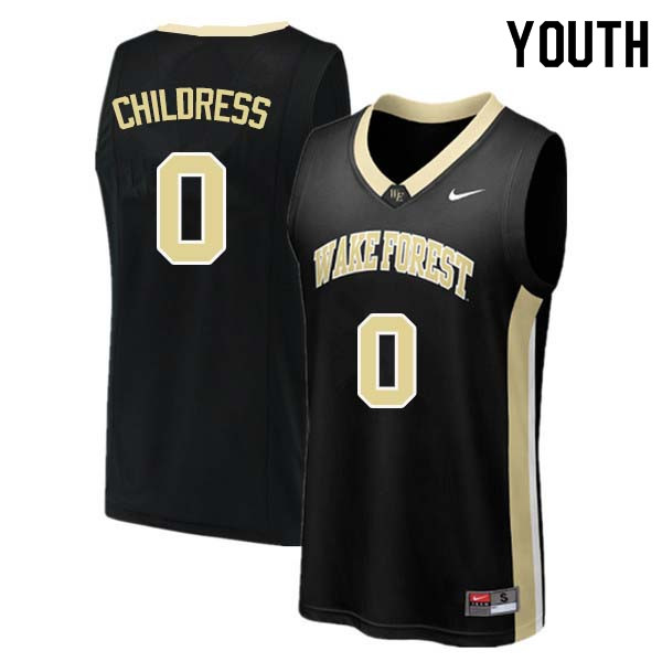 Youth #0 Brandon Childress Wake Forest Demon Deacons College Basketball Jerseys Sale-Black