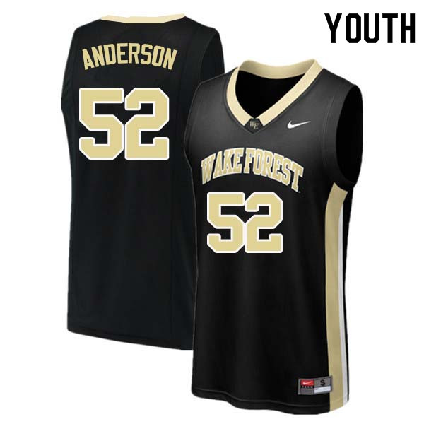 Youth #52 Britton Anderson Wake Forest Demon Deacons College Basketball Jerseys Sale-Black
