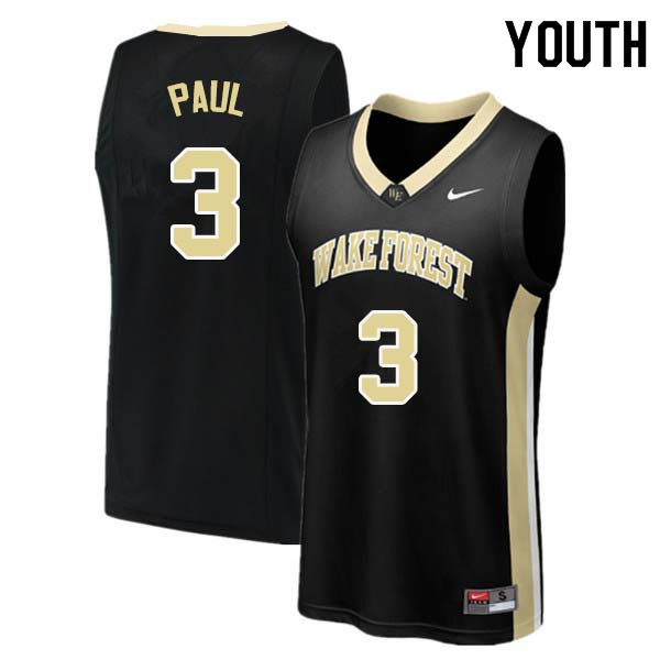 Youth #3 Chris Paul Wake Forest Demon Deacons College Basketball Jerseys Sale-Black