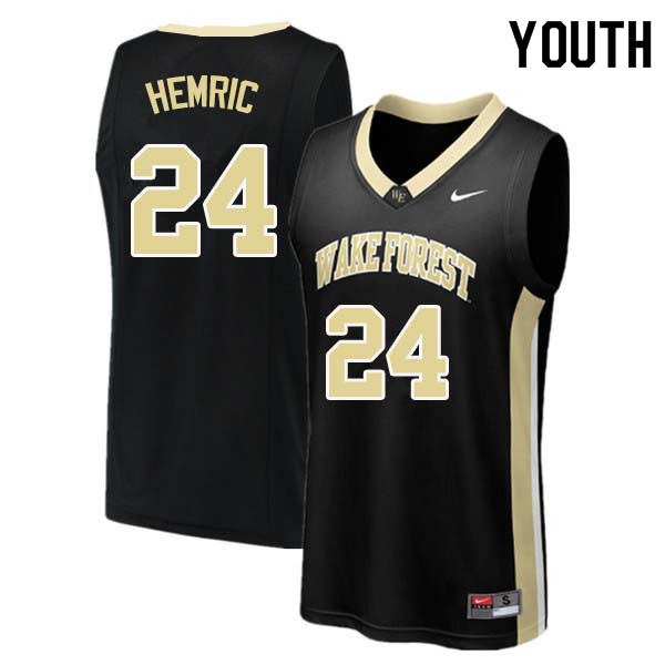 Youth #24 Dickie Hemric Wake Forest Demon Deacons College Basketball Jerseys Sale-Black