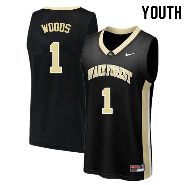 Youth #1 Keyshawn Woods Wake Forest Demon Deacons College Basketball Jerseys Sale-Black