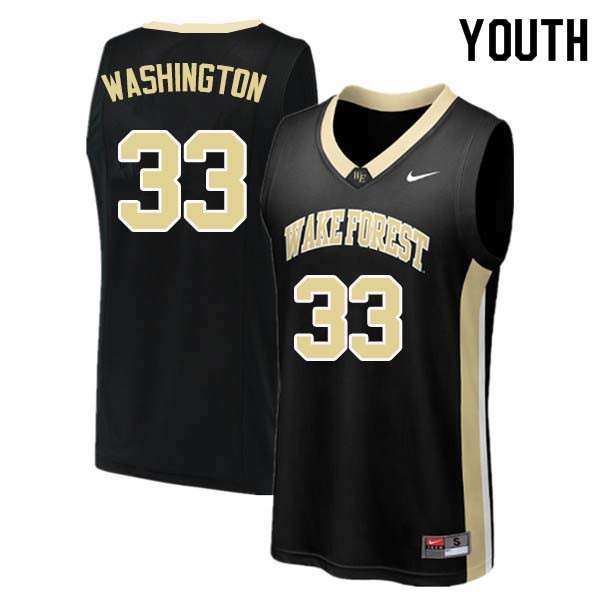 Youth #33 Rich Washington Wake Forest Demon Deacons College Basketball Jerseys Sale-Black