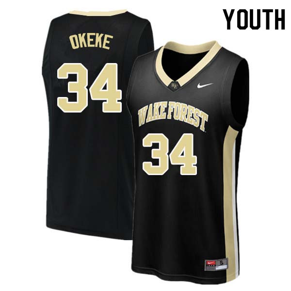 Youth #34 Sunday Okeke Wake Forest Demon Deacons College Basketball Jerseys Sale-Black